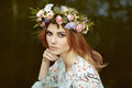 Beautiful Blonde Woman With Flower Wreath On Her Head Royalty Free Stock Photography - 92978857