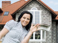 Woman With Keys To The New House Stock Images - 9309584
