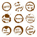 Coffee Shop Collection Of Round Watercolor Stains. Stock Photography - 93000462