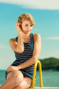 Fashion Woman In Striped Dress Outdoor. Summer. Royalty Free Stock Image - 93000666