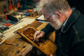 Senior Wood Carving Professional During Work Stock Image - 93011501