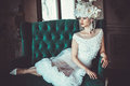 Beautiful Bride Sits On A Chair. Luxury Palace. Royalty Free Stock Photography - 93021797