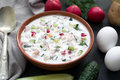 Okroshka. Traditional Russian Summer Yoghurt Cold Soup With Vegetables Stock Photo - 93027220