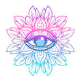 Sacred Geometry Symbol With All Seeing Eye In Acid Colors. Mysti Stock Images - 93029564