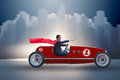 The Superhero Businessman Driving Vintage Roadster Royalty Free Stock Image - 93059996