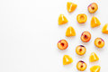 Orange And Peach Summer Sweet Dessert On White Background Top View Mock-up Royalty Free Stock Photo - 93065235