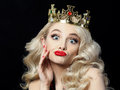 Funny Blonde Princess Makes Faces Royalty Free Stock Image - 93066346