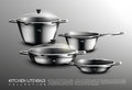 Realistic Kitchen Cookware Set Stock Images - 93067564