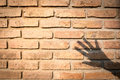 Orange Brown Old Brick Wall Texture With Hand Shadow. Concept Background For Design Royalty Free Stock Image - 93068696