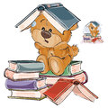 Vector Illustration Of A Brown Teddy Bear Tired Of Studying And Put An Open Book On His Head Stock Images - 93075044