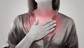 Woman Suffering From Acid Reflux Or Heartburn Stock Photos - 93075923