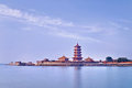 Temple Complex On A Peninsula With Pagoda, Penglai, China Royalty Free Stock Images - 93076889