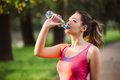 Thirsty Woman Drinking Water To Recuperate After Jogging Royalty Free Stock Photos - 93079108