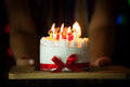 Woman Hand Giving Delicious Birthday Cake With Burning Candles Royalty Free Stock Photo - 93080855