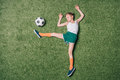 Top View Of Little Boy Pretending Playing Soccer On Grass Royalty Free Stock Photography - 93091057