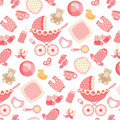 Baby Girl Pattern On Pink Royalty Free Stock Images - 93093749