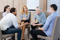 Pleasant Nice People Having A Group Discussion Stock Photo - 93095560