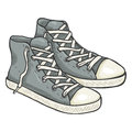 Vector Cartoon Illustration - Pair Of High Casual Gumshoes Stock Image - 93103051