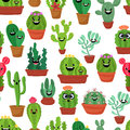 Seamless Pattern With Cute Kawaii Cactus And Succulents With Funny Faces In Pots.White Background. Vector Illustration Stock Images - 93103954