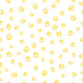 A Pattern Of Canine Tracks Of Different Sizes. The Dog Tracks Are Yellow On A White Background. Vector Illustration In A Flat Styl Royalty Free Stock Photos - 93104378