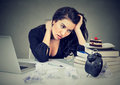 Stressed Woman Sitting At Desk In Her Office Overworked Craving Sweet Cake Royalty Free Stock Image - 93130486