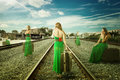 Same Woman In Different Positions With Suitcase Talking On Mobile Phone Waiting For Train Royalty Free Stock Photos - 93130728