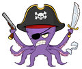 Angry Pirate Octopus Cartoon Mascot Character With A Sword Gun And Hook Stock Photography - 93139812