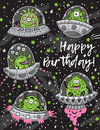 Happy Birthday Card With Fantastic Creatures Monsters Seamless Pattern Royalty Free Stock Photography - 93146707