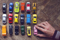Assorted Colorful Car Collection On Floor Royalty Free Stock Photography - 93149927