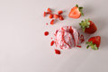 Ice Cream Flavored Strawberry Background Top View Isolated Royalty Free Stock Image - 93150396