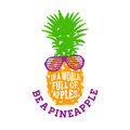 Hand Drawn Label With Textured Pineapple Vector Illustration. Royalty Free Stock Photo - 93155675