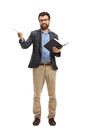 Professor With A Wooden Stick And A Book Stock Photo - 93156600