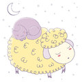 Sleeping Sheep And Cat Stock Image - 93164841