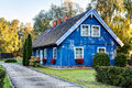 Traditional Lithuanian Wooden House In The Countryside. Pervalka Village, Lithuania. Stock Images - 93170794