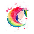 Bright Lovely Cute Fairy Magical Colorful Pattern Of Unicorn On Red Spray Background Watercolor Hand Illustration Royalty Free Stock Image - 93183966