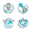 Peace Outline Blue Icons Love World Freedom International Free Care Hope Symbols Vector Illustration Royalty Free Stock Photography - 93199727
