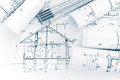 House Plan Blueprint And Folding Ruler On Architects Workplace Stock Photography - 93201062