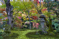 Kasuga Doro Or Stone Lantern In Japanese Maple Garden During Autumn At Enkoji Temple, Kyoto, Japan Royalty Free Stock Images - 93204099