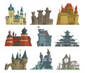 Cartoon Fairy Tale Castle Key-stone Palace Tower Icon Scarry Knight Medieval Architecture Building Vector Illustration. Royalty Free Stock Images - 93205299