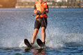 Woman Riding Water Skis Closeup. Body Parts Without A Face. Athlete Water Skiing And Having Fun. Living A Healthy Royalty Free Stock Image - 93216156