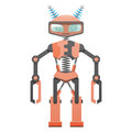 Red Robot With Pincer Hands And Two Horns Art Icon Royalty Free Stock Photography - 93219777