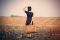 Young Woman With Suitcase Stock Images - 93220474