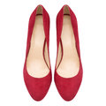 Female Red Suede Shoes Stock Images - 93232714