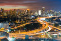Night Light Highway Intersection Royalty Free Stock Image - 93252006