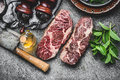 Two Dry Aged Raw Beef Steaks With Meat Cleaver And Condiment On Dark Rustic Concrete Background Royalty Free Stock Images - 93266499