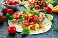 Tuna Tortilla With Avocado, Fresh Salsa, Limes, Greens, Parsley, Tomatoes, Red Yellow Pepper. Colorful Vegetable Royalty Free Stock Images - 93270089
