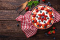 Delicious Strawberry Pie With Fresh Blueberry And Whipped Cream On Wooden Rustic Table, Cheesecake Royalty Free Stock Photo - 93272945