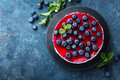 Delicious Blueberry Cake With Fresh Berries And Marmalade, Tasty Cheesecake Royalty Free Stock Photography - 93272987