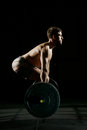Fitness Training. Man Training With Barbell Stock Photo - 93276040