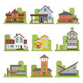 Historical City Modern World Most Visited Famous Distinctive House Building Front Face Facade Vector Illustration Stock Image - 93281631